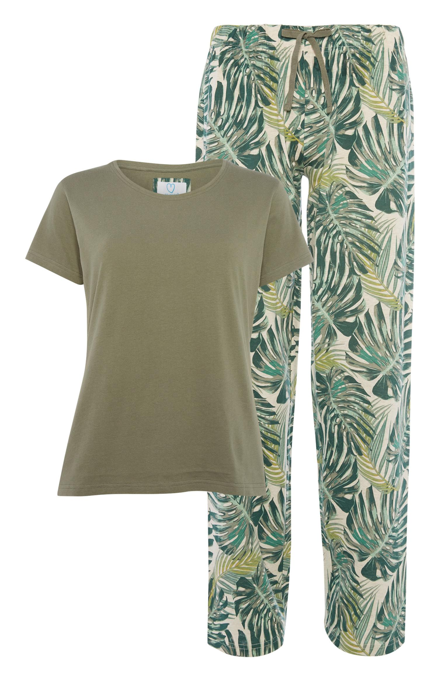 Khaki Leaf Pyjam Set