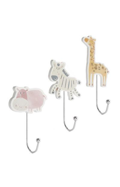 Animal Bedroom Hooks 3Pk