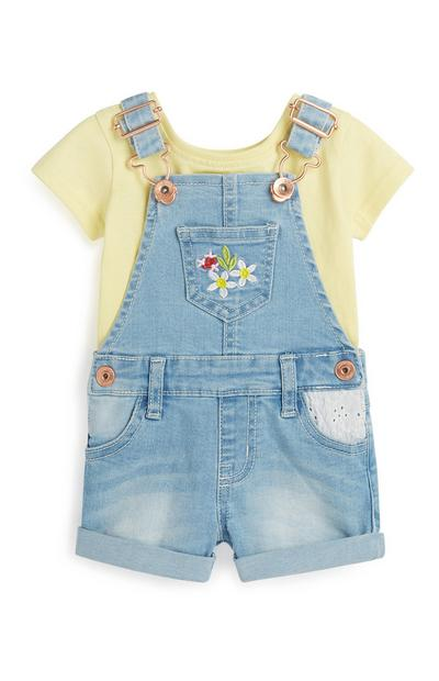 Baby Girl Floral Dungaree 2Pc Outfit