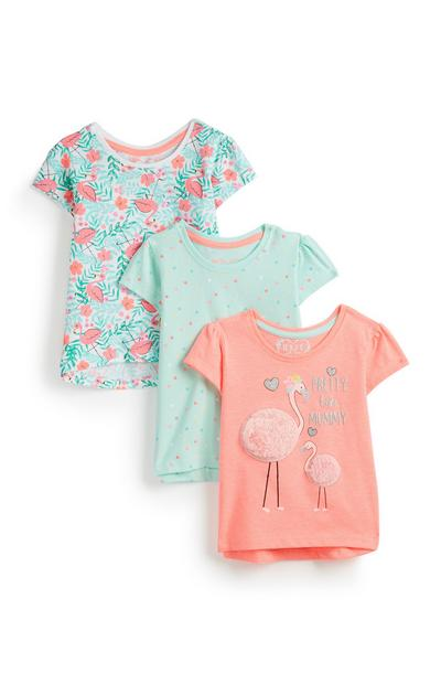 Baby Girl Flamingo T Shirts 3Pk