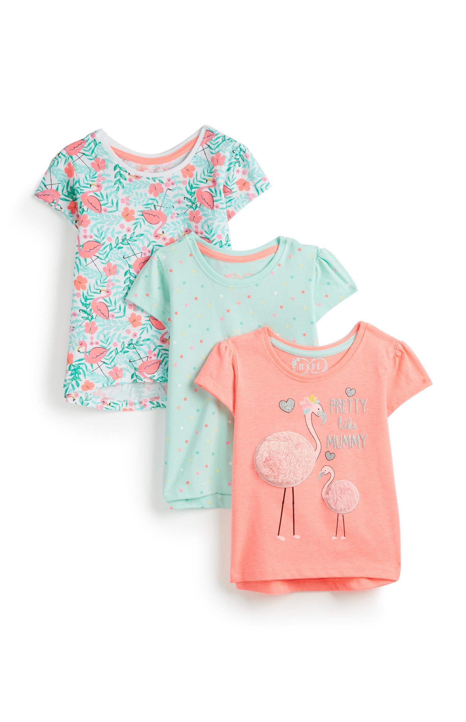 Baby Girl Flamingo T Shirts 3Pk