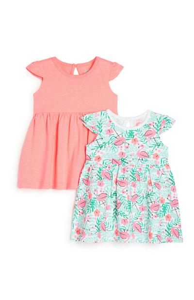 Baby Girl Flamingo Dress 2Pk