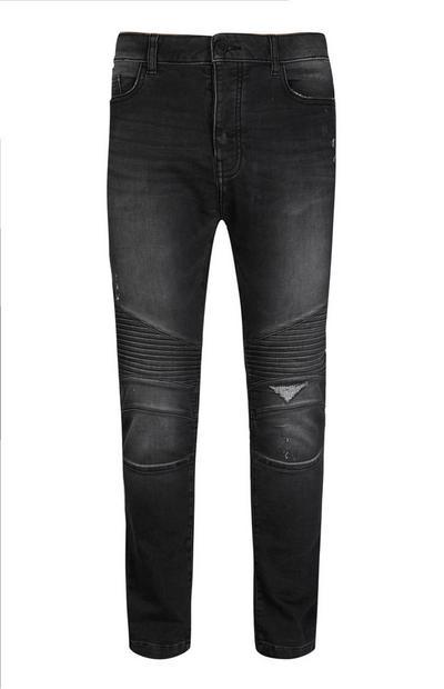 Black Skinny Biker Jean