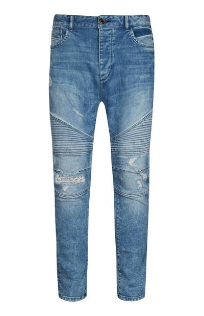 Light Wash Skinny Biker Jean