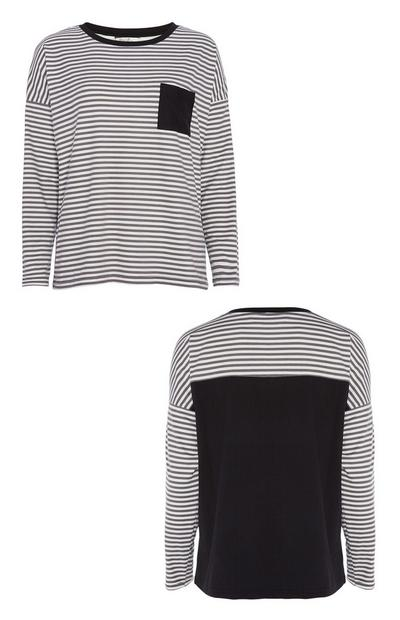 Black Stripe Pyjama Top