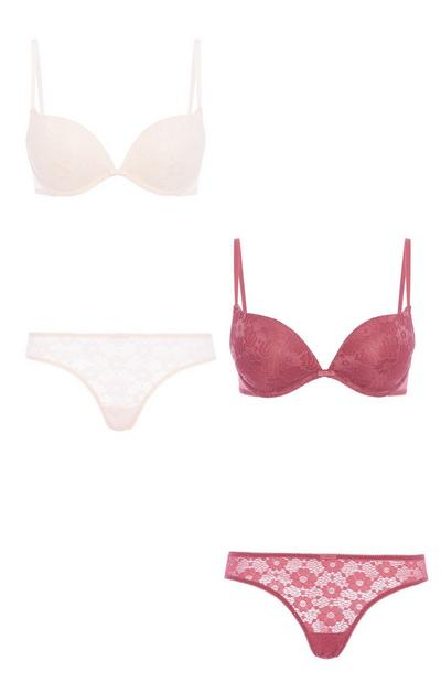 Maroon And Ivory Lace Bra And Brief 2Pk