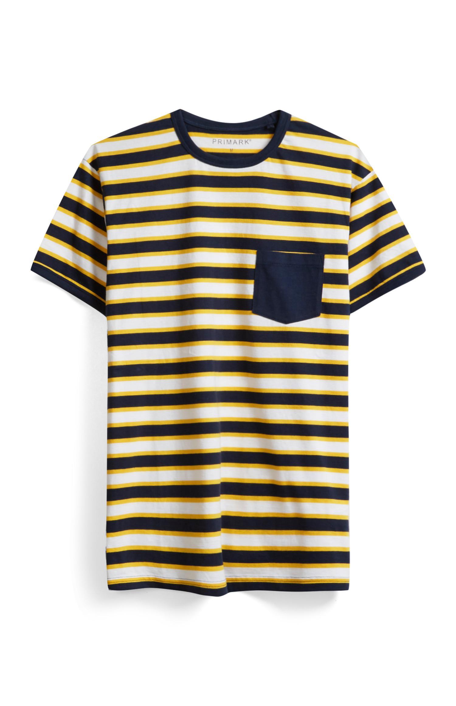 Gelb-marineblau gestreiftes T-Shirt
