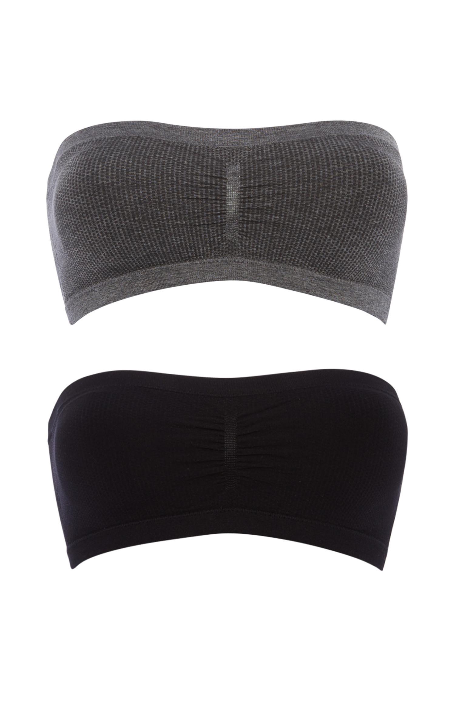 Grau-schwarze Bandeau-Tops, 2er-Pack