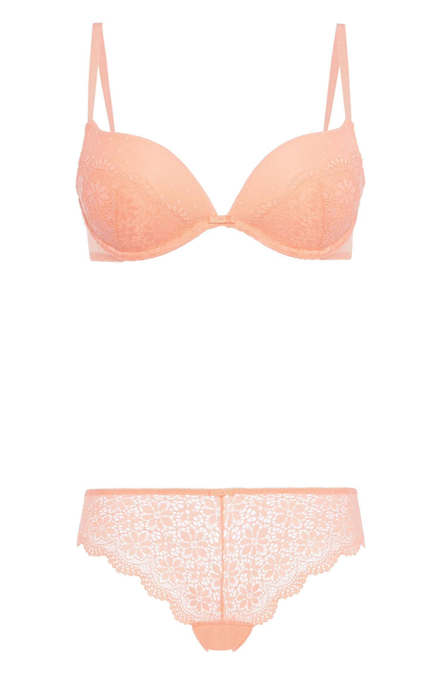 Pink Lace Bra And Brief Set