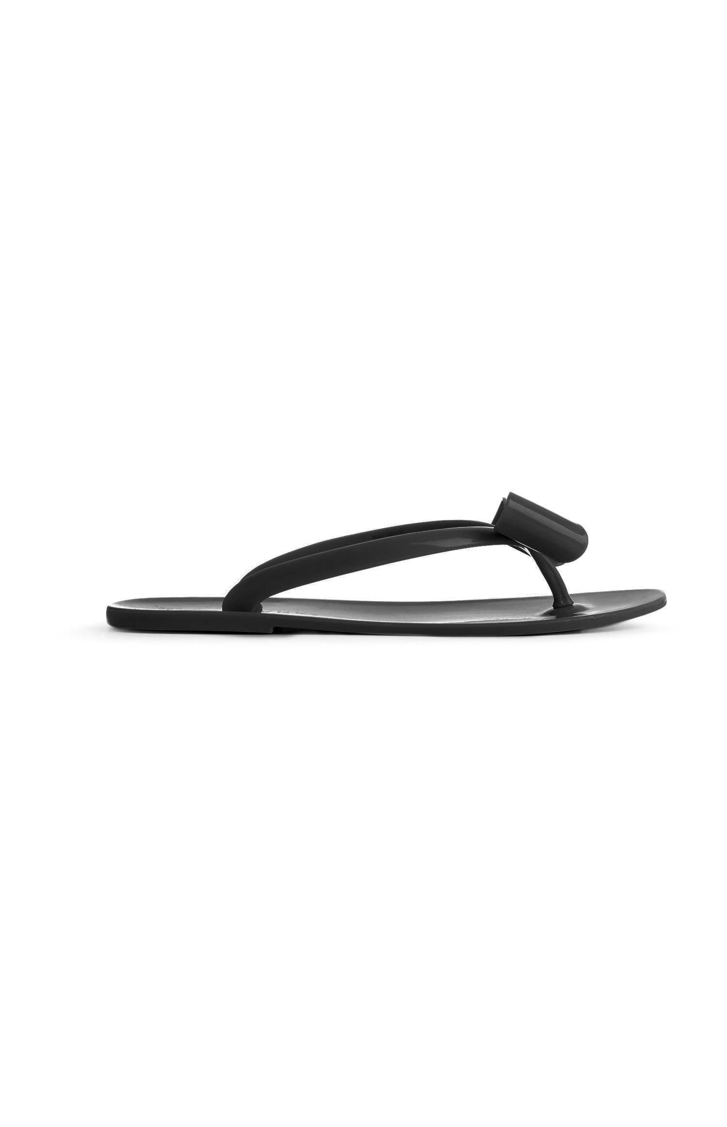 Chinelos dedo silicone laço preto