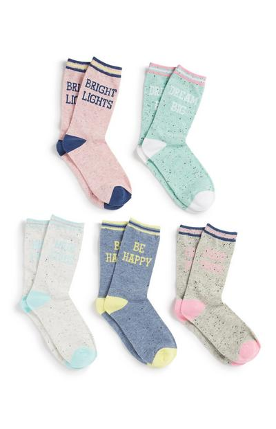 Slogan Socks 5Pk