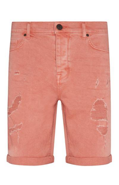 Red Distressed Denim Shorts
