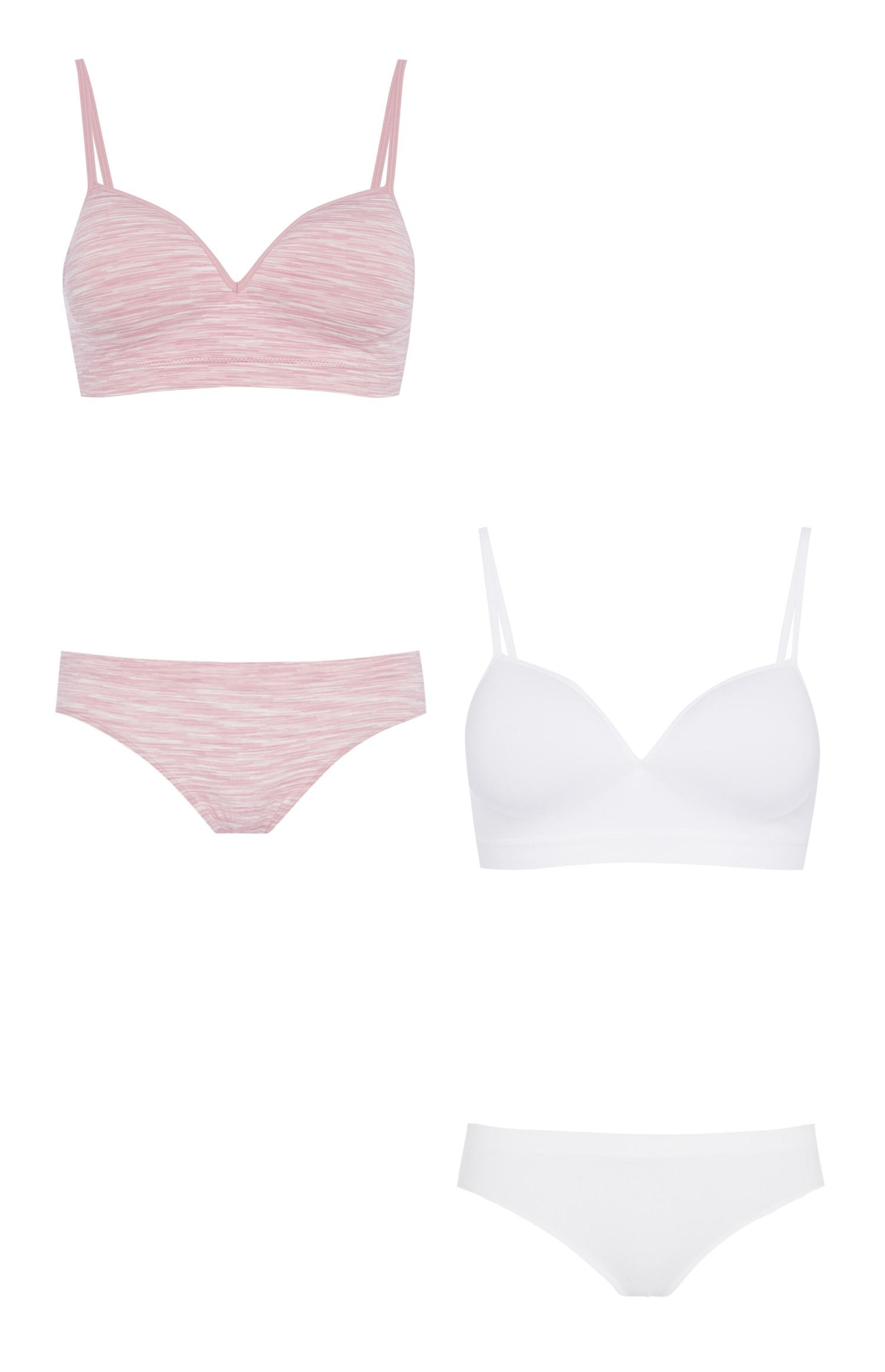 Pink And White Bra And Brief 2Pk