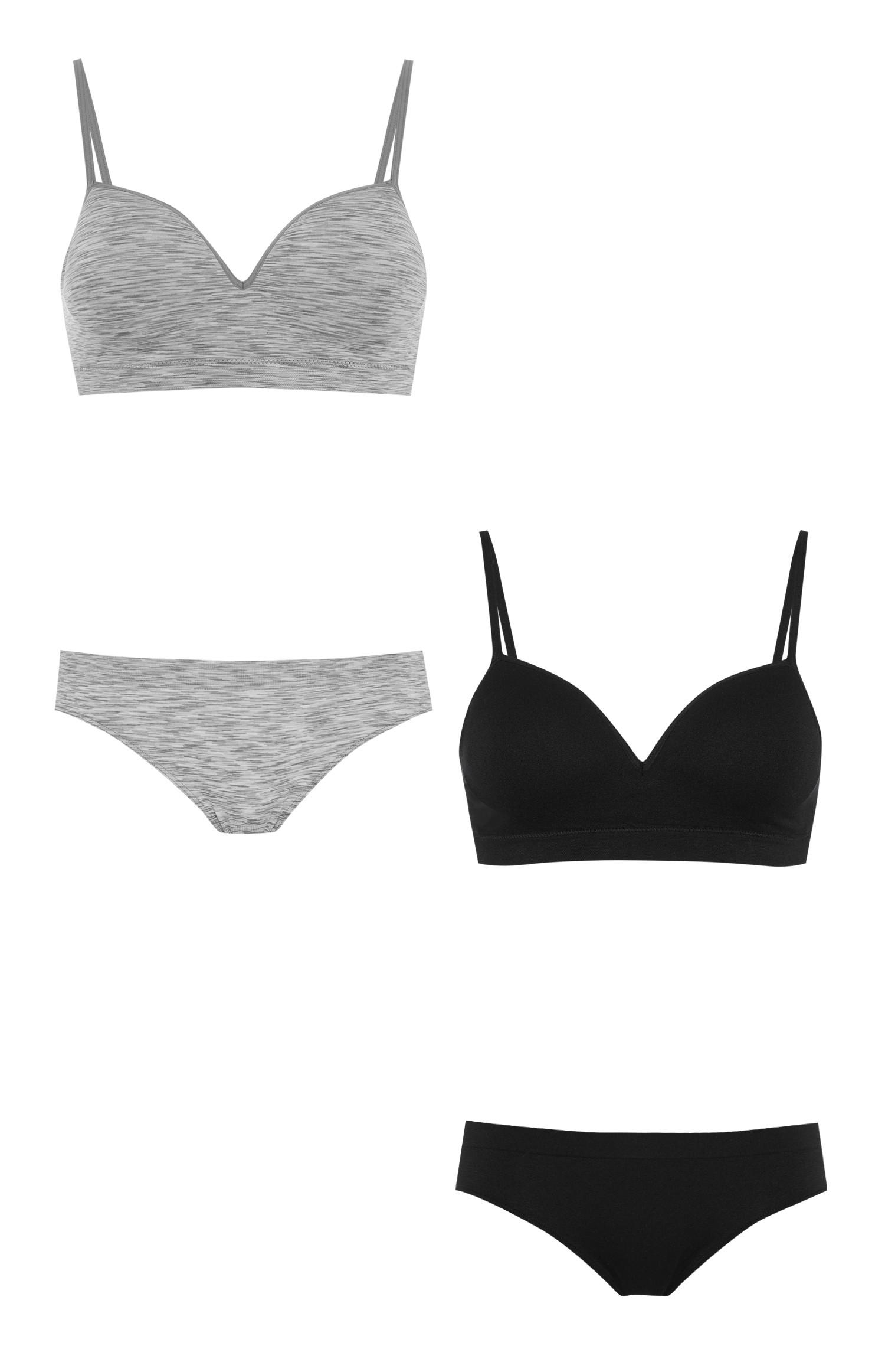 Black And Grey Bra And Brief 2Pk