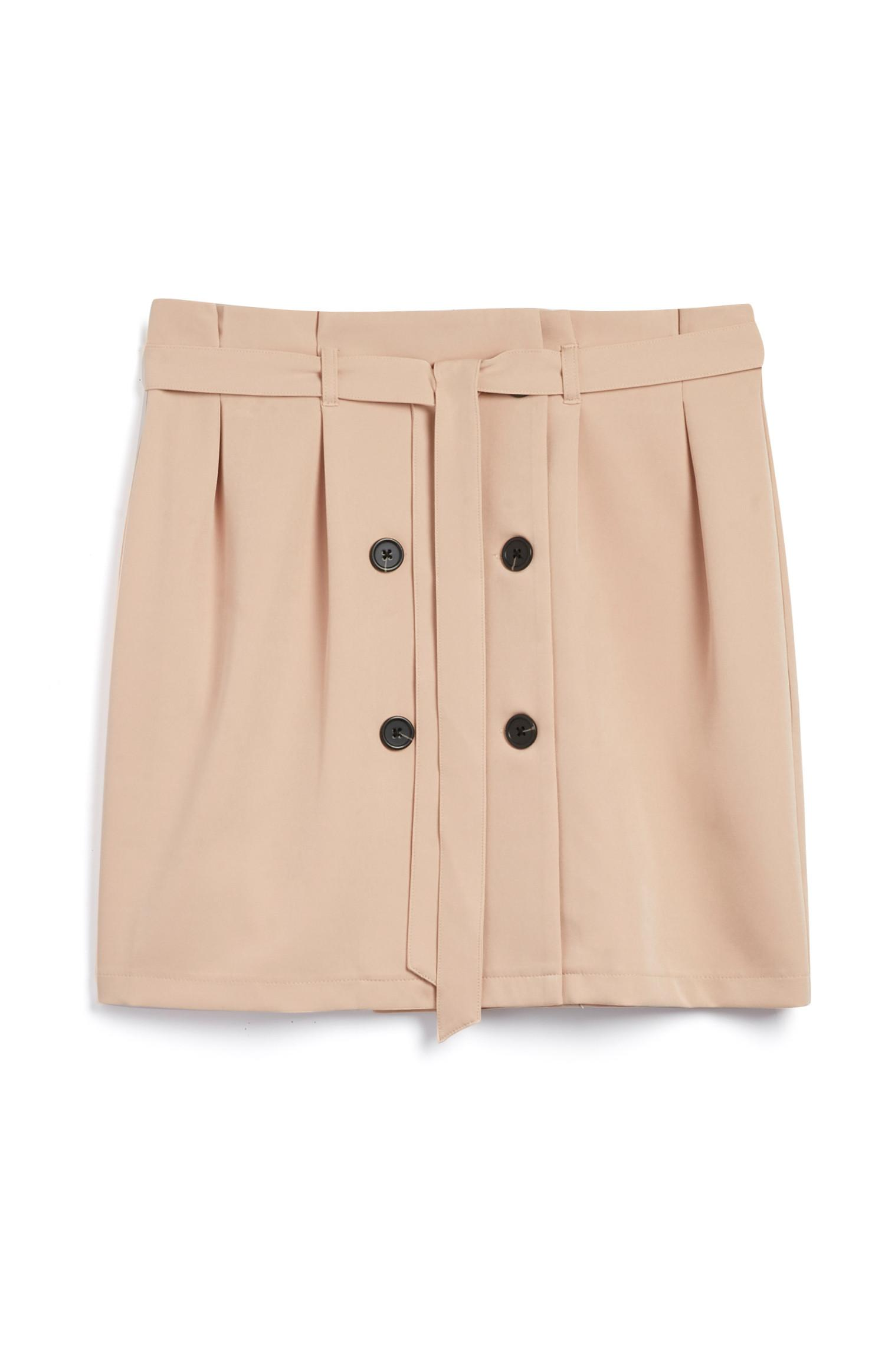 Camel Button Down Skirt