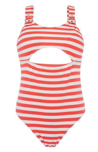 Stripe Cut Out Swimsuit