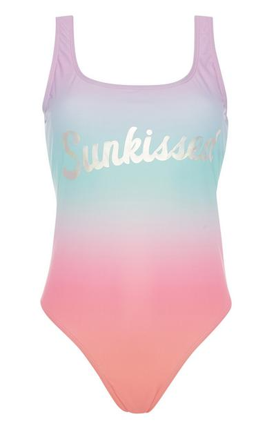 Slogan Ombre Swimsuit