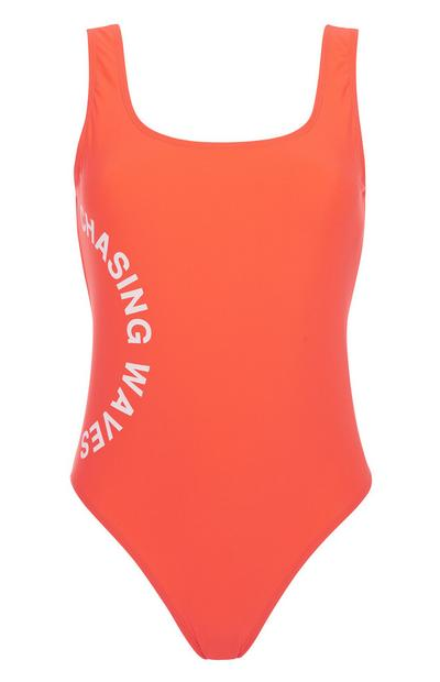 Red Slogan Swimsuit
