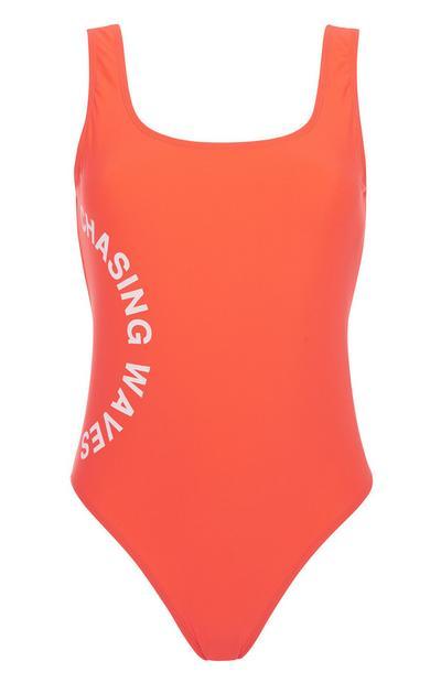 Red Slogan Swimsuit