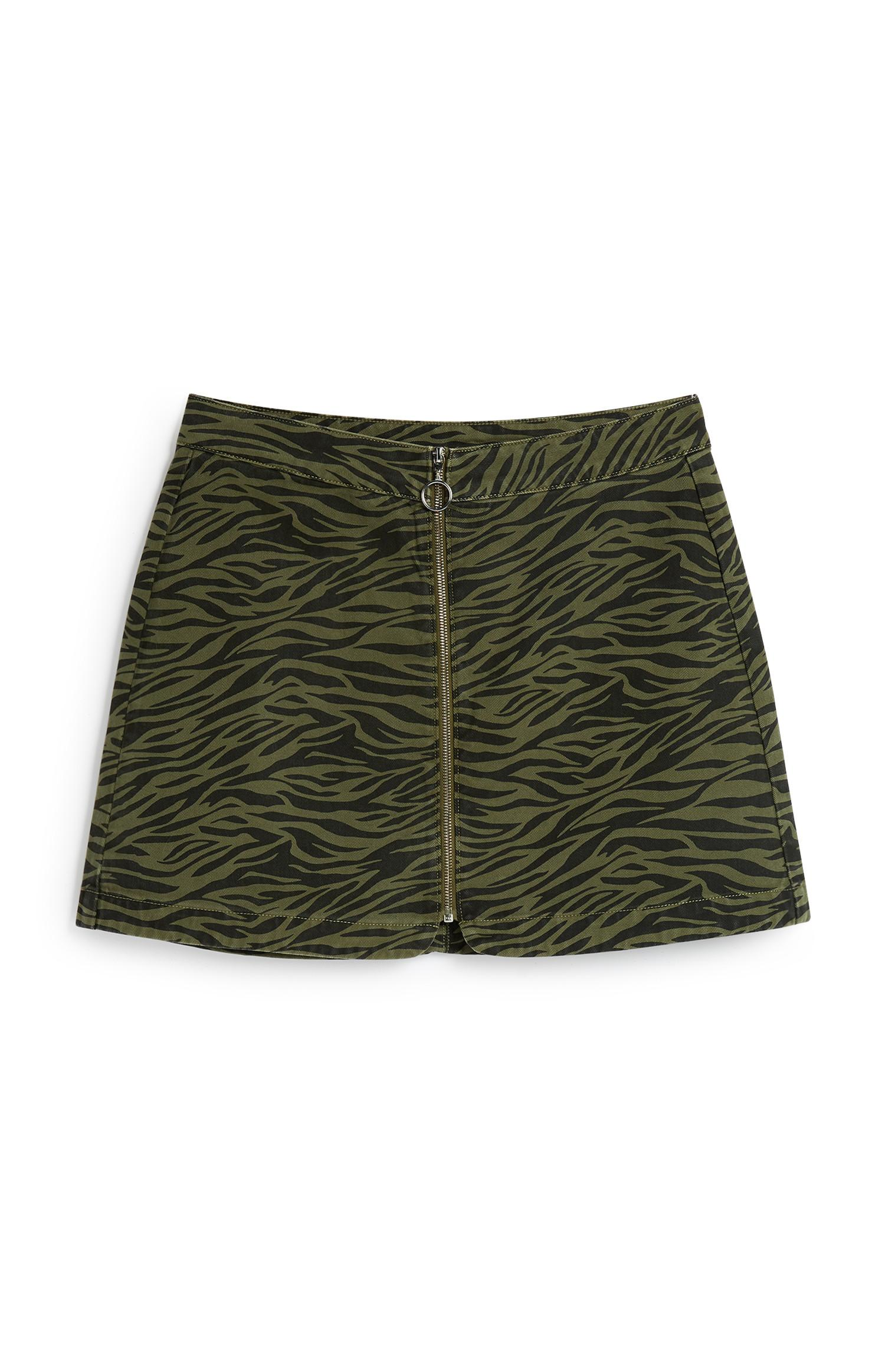 Green Zebra Print Skirt