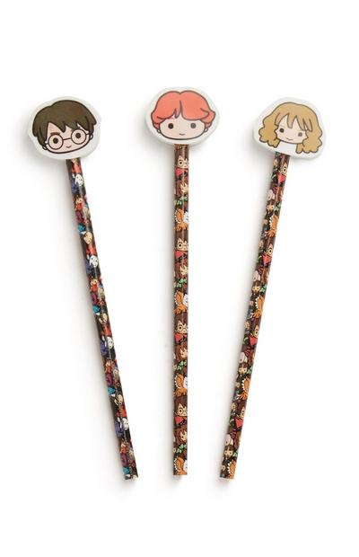 Harry Potter Pencil And Eraser 3Pk