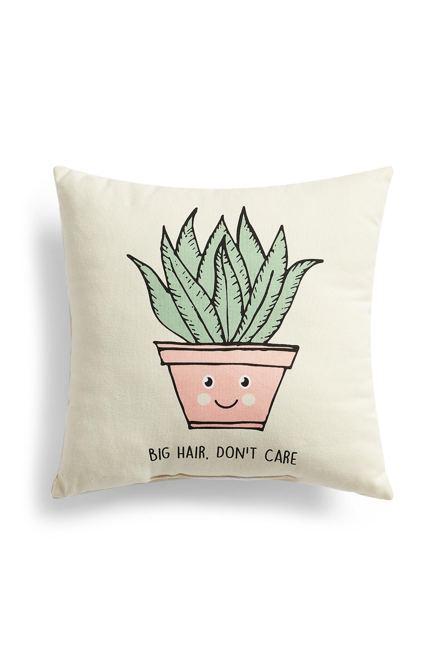 Kissen mit Pflanzenmotiv im Cartoon-Stil