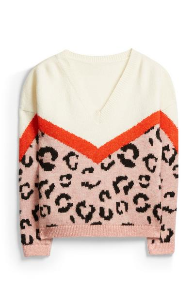 V Neck Animal Print Jumper