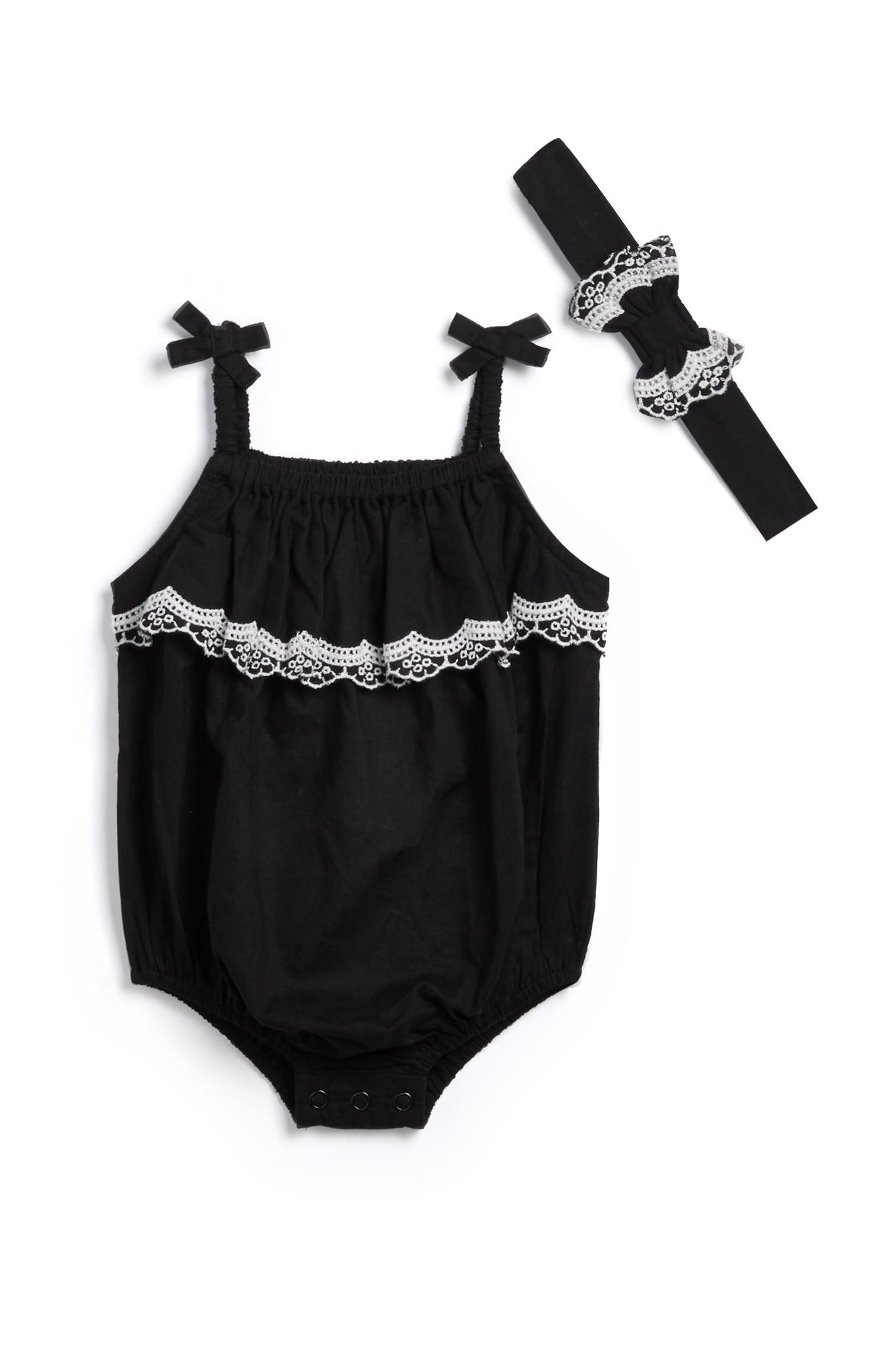 Newborn Girl Black Romper 2pc Outfit