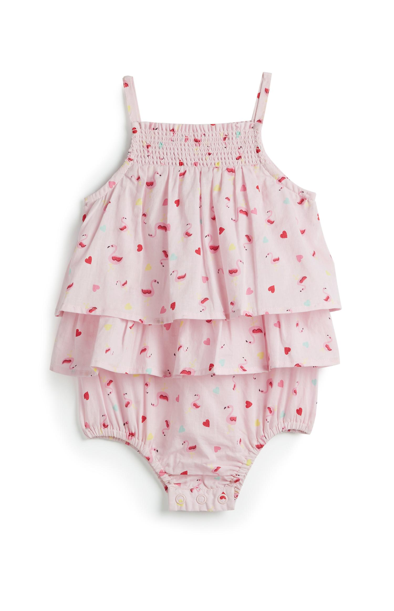 Newborn Girl Flamingo Romper