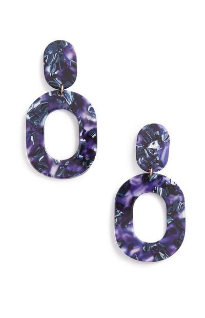 Blue Resin Drop Earring