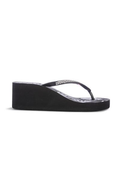 Black Wedge Flip Flop