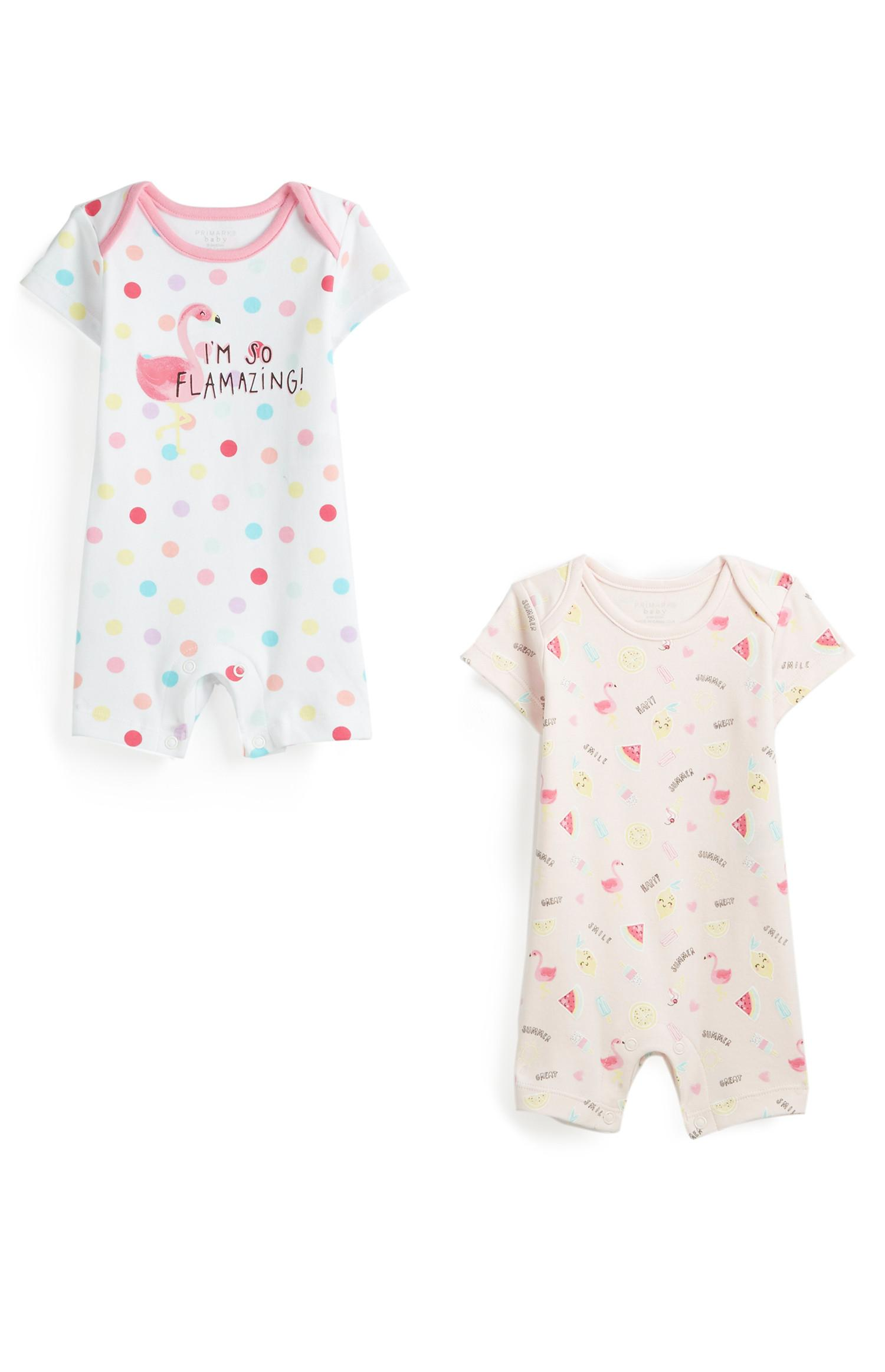 2-Pack Newborn Girl Flamingo Rompers