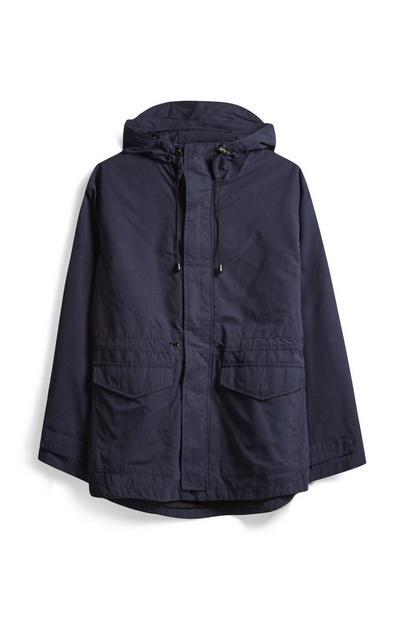 Navy Cotton Parka Jacket