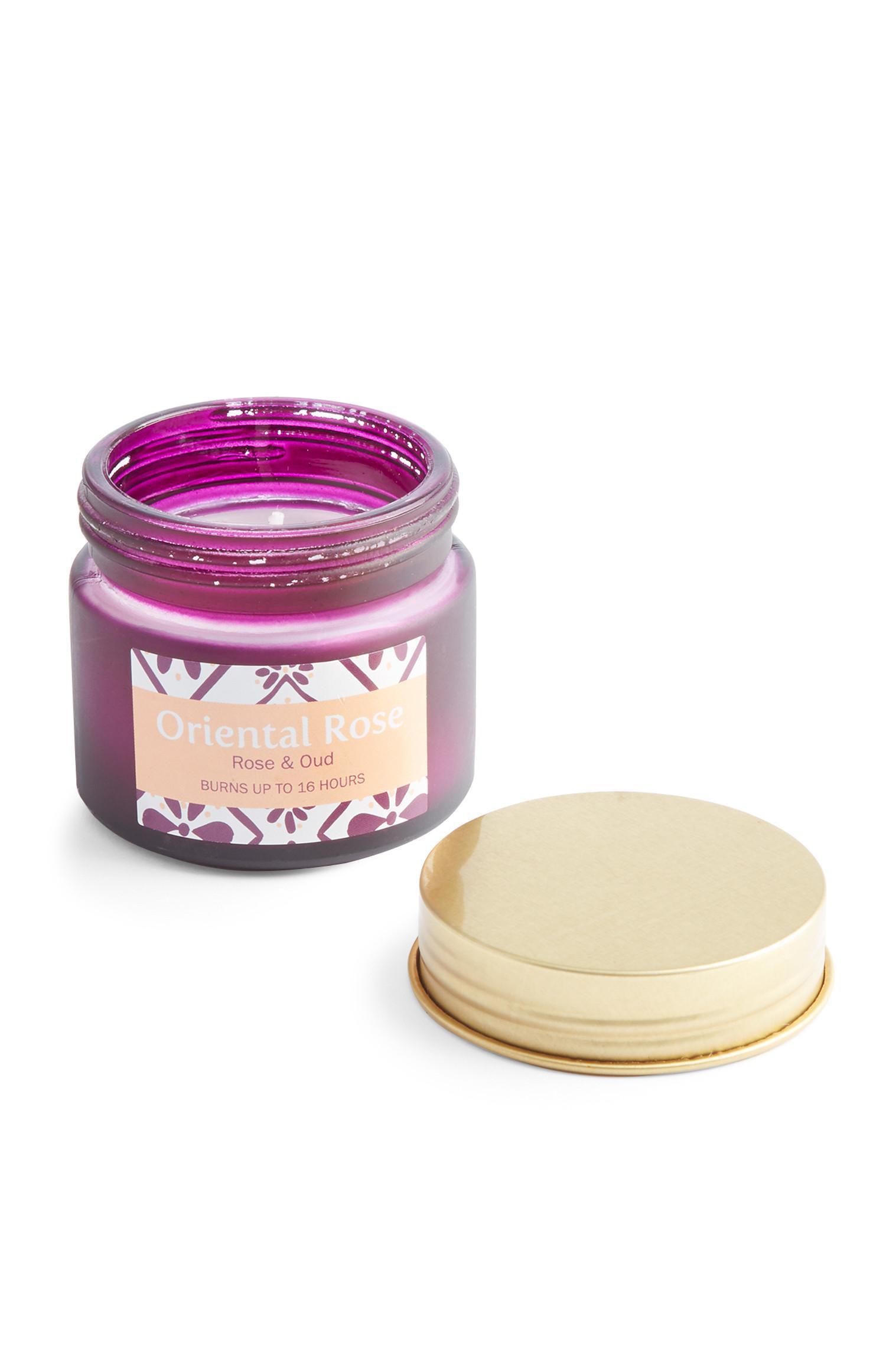 Violette Mini-Kerze im Glas