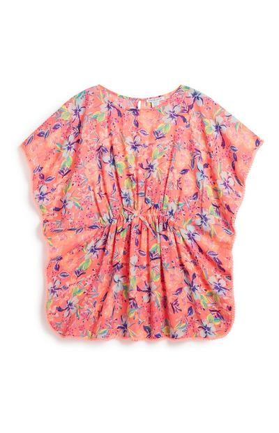 Older Girl Pink Floral Kaftan