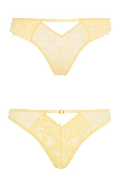 Yellow Lace Brief 2Pk