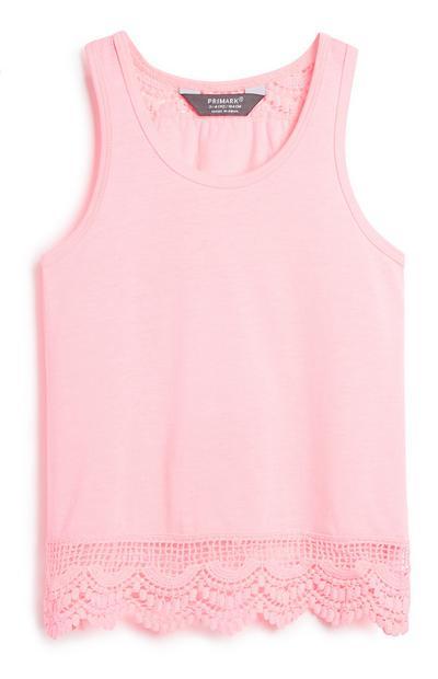 Younger Girl Pink Crochet Vest