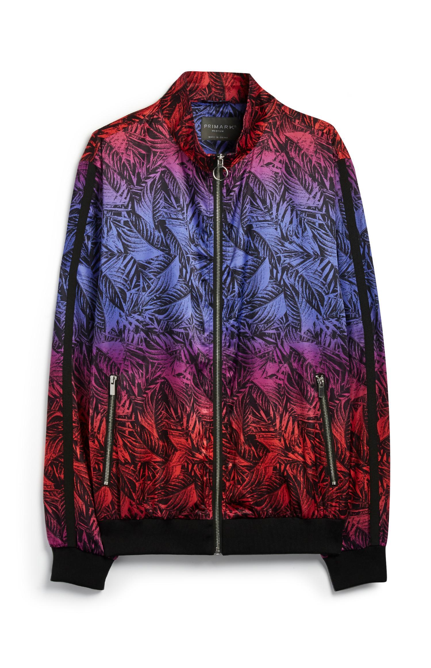 Leaf Print Bomber Jacket