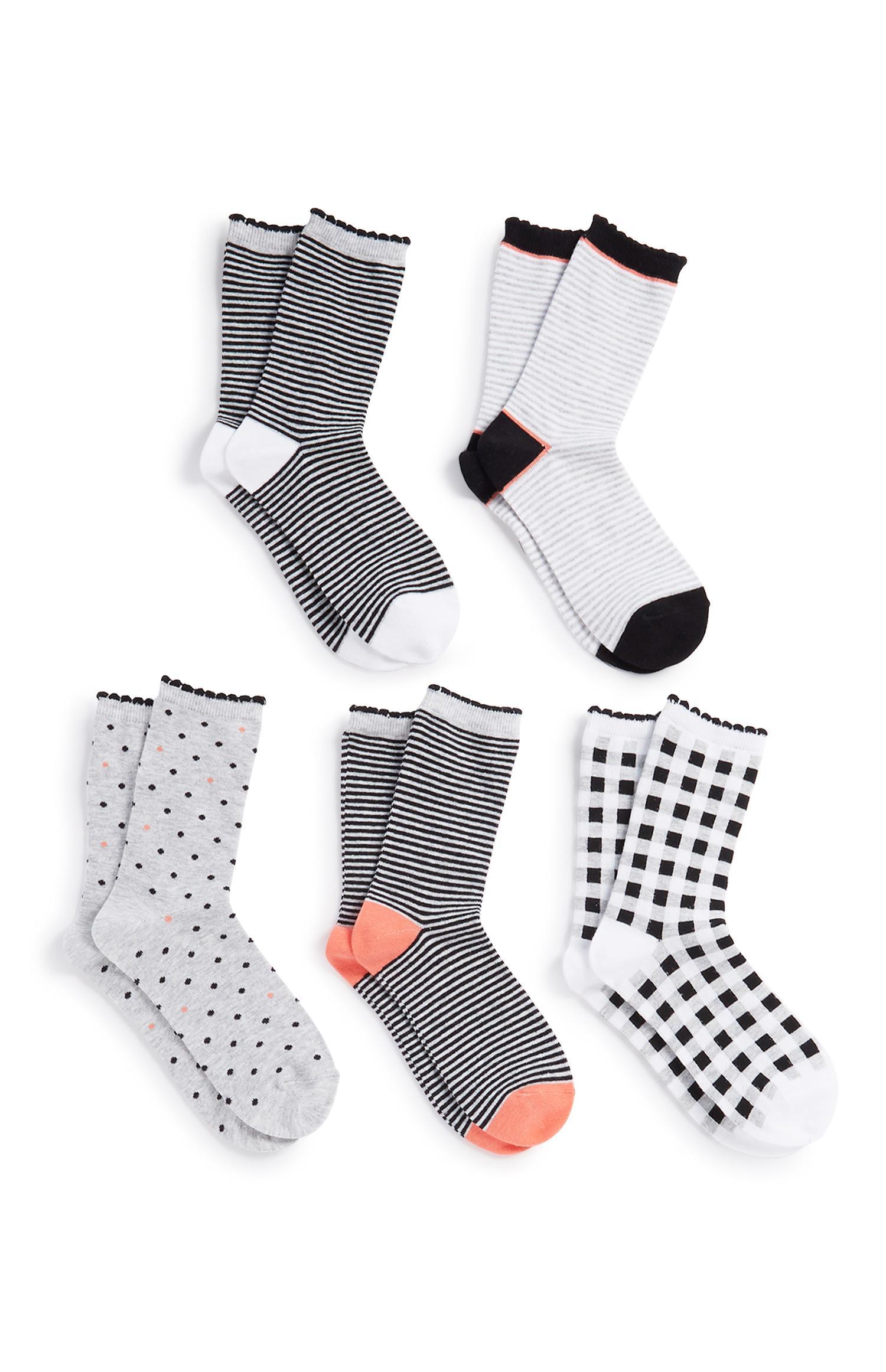 Lange Socken, 5er-Pack