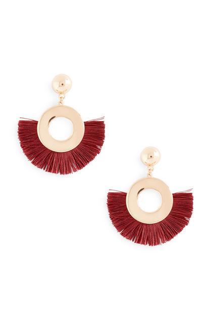 Red Fan Tassel Earrings