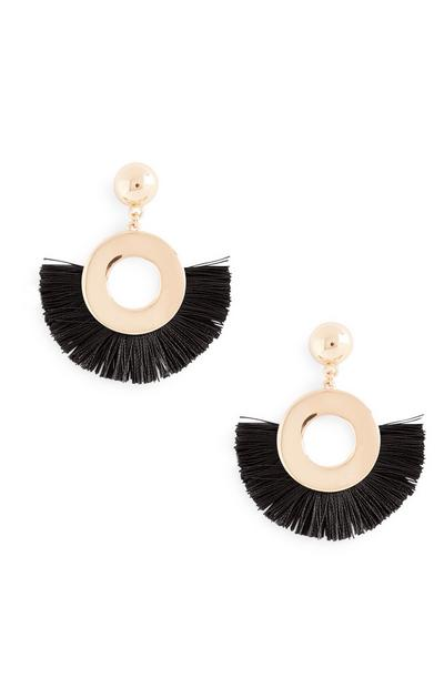 Black Fan Tassel Earrings