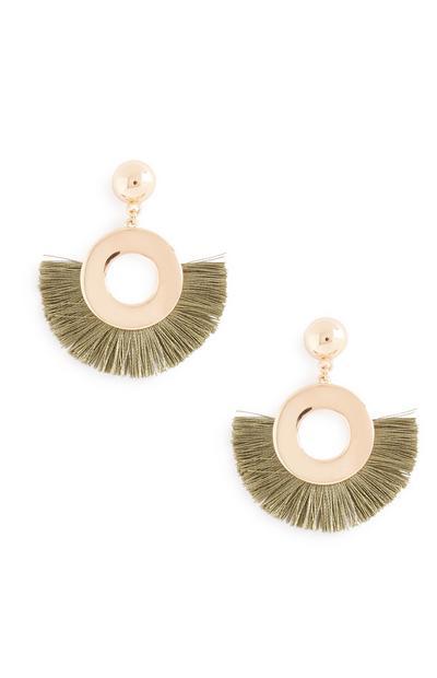 Green Fan Tassel Earrings