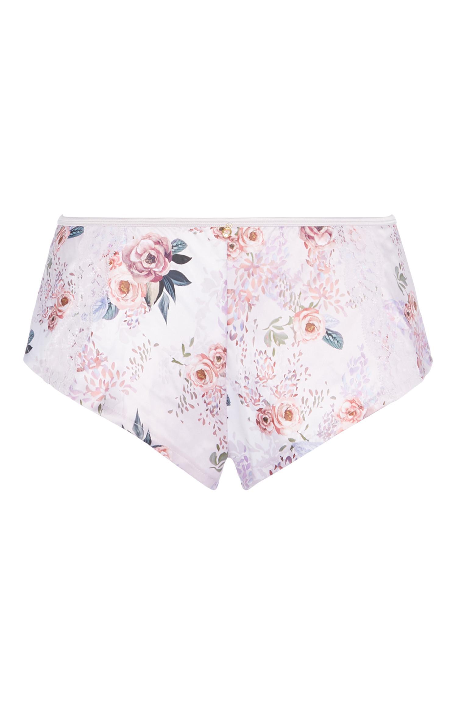 Shorts in raso a fiori rosa