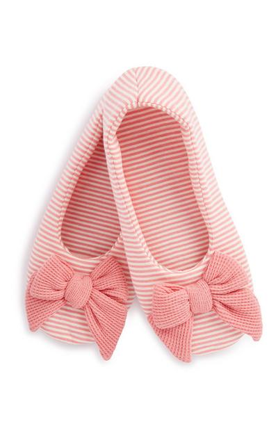 Red Stripe Bow Slipper