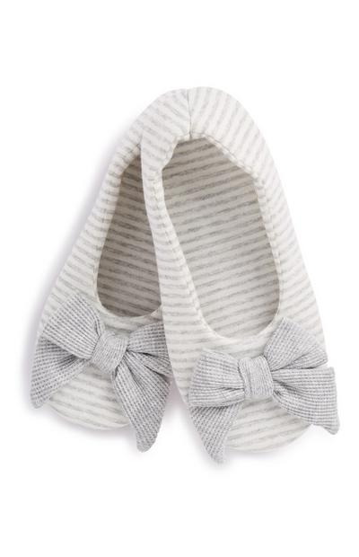 Grey Stripe Bow Slipper
