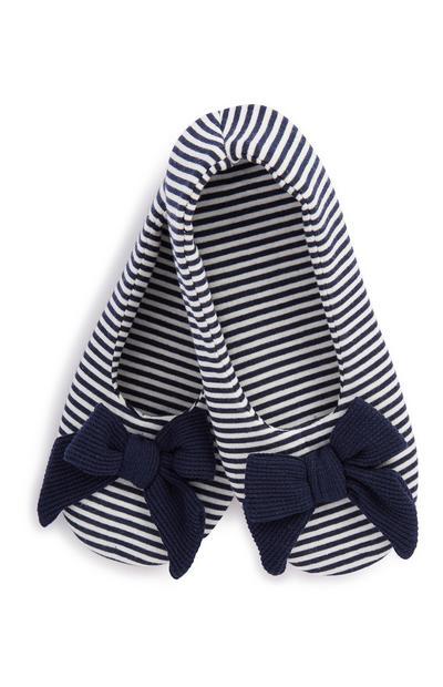 Black Stripe Bow Slipper