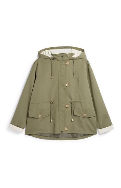 Khaki Short Lined Parka Coat