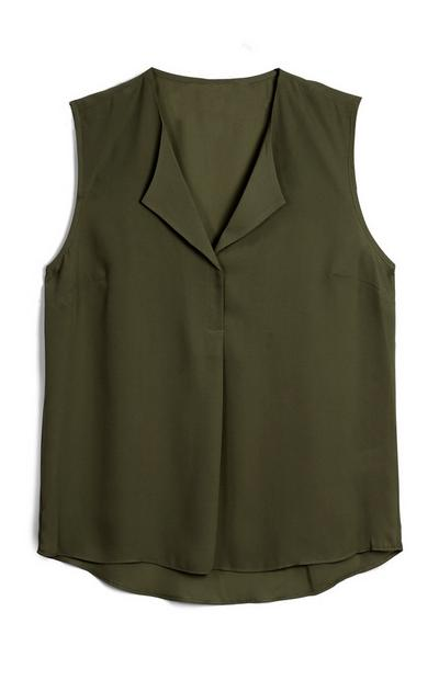 Khaki Sleeveless Shell Top