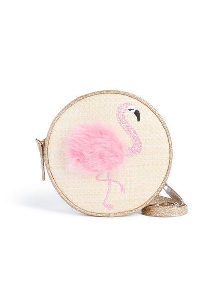 Circle Straw Flamingo Bag
