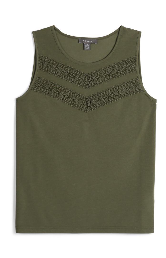 Khaki Embroidered Sleeveless Top